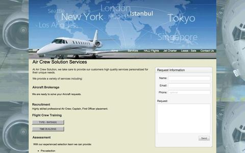 Screenshot of Services Page aircrewsolution.com - Air Crew Solution - captured Oct. 4, 2014