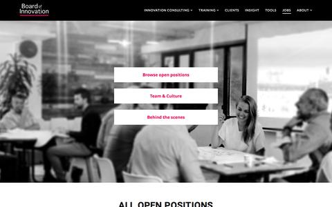 Screenshot of Jobs Page boardofinnovation.com - Jobs: Business Designer/ Innovation Consultant - Change Agent - captured Nov. 24, 2016