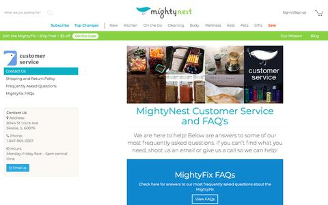 Screenshot of Contact Page mightynest.com - Contact Us - MightyNest - captured July 20, 2019