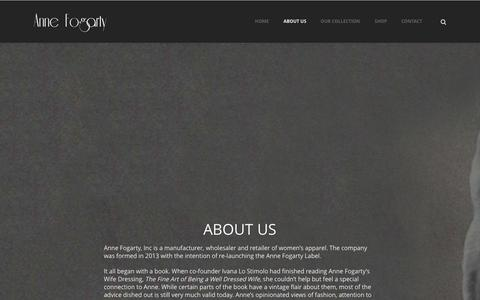 Screenshot of About Page annefogartyinc.com - Anne Fogarty   –  About Us - captured Sept. 30, 2014