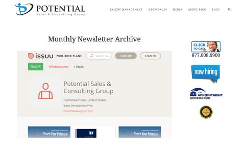 Newsletter Archive – Potential Sales and Consulting Group
