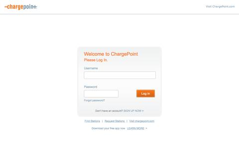 Screenshot of Login Page chargepoint.com - ChargePoint - captured Nov. 14, 2015
