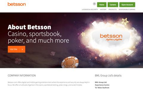 Screenshot of About Page betsson.com - About Betsson – digital and mobile gaming entertainment - captured June 7, 2019