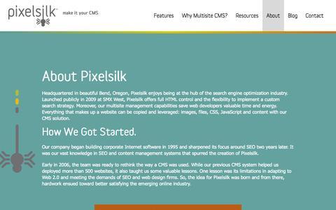 Screenshot of About Page pixelsilk.com - Popular CMS - Pixelsilk Multisite - captured Sept. 30, 2014
