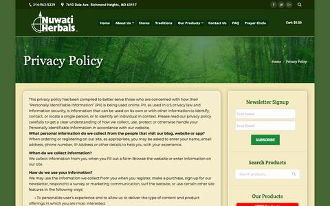 Screenshot of Privacy Page nuwatiherbals.com - Privacy Policy | Nuwati Herbals - captured Oct. 19, 2018