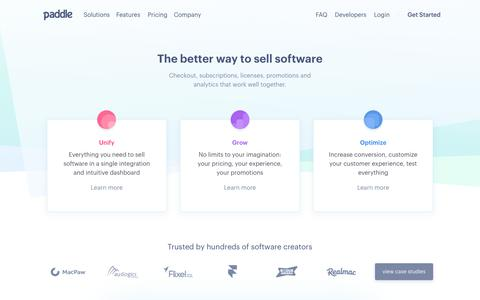 Screenshot of Home Page paddle.com - Paddle - The better way to sell software - captured Sept. 16, 2017