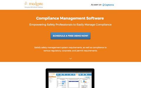 Screenshot of Landing Page medgate.com - Compliance Management Software Solution - captured June 8, 2017
