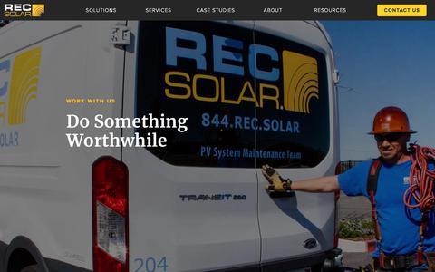 Screenshot of Jobs Page recsolar.com - Solar Energy Careers | REC Solar - captured Nov. 10, 2019