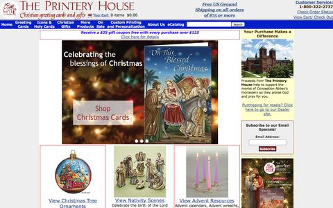 Screenshot of Home Page printeryhouse.org - Christian Greeting Cards, Christmas Cards & Gifts | Religious Greeting & Birthday Cards | Catholic Mass & Prayer Cards - The Printery House - captured Oct. 10, 2014