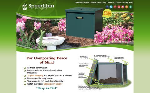 Screenshot of Home Page speedibin.com - Speedibin - A Simple - All Metal - Vermin Resistant - Composting Bin - captured June 15, 2017