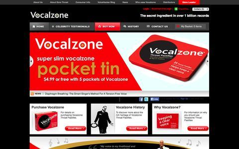 Screenshot of Home Page vocalzone.com - Vocalzone | Vocal Zones Pastilles | Vocalzones Tablets :: Vocalzone - captured Oct. 6, 2014