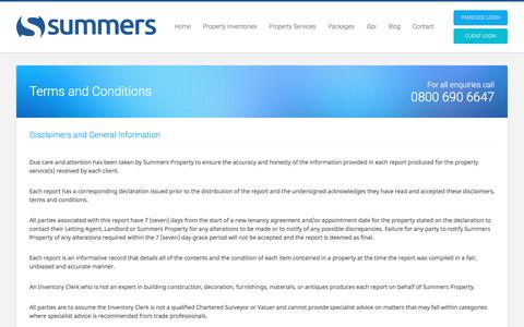 Screenshot of Terms Page summersproperty.com - Terms and Conditions | Summers Property - captured Dec. 2, 2016