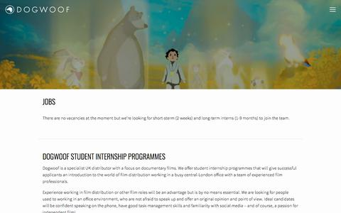 Screenshot of Jobs Page dogwoof.com - Jobs — Dogwoof - Documentary distribution - captured Jan. 8, 2018