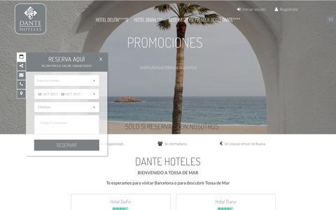 Screenshot of Home Page hotelesdante.com - Hoteles en Tossa de Mar | Dante Hoteles - captured Oct. 12, 2017