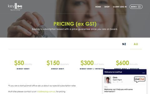 Screenshot of Pricing Page keylog.com.au - Pricing - captured June 9, 2017
