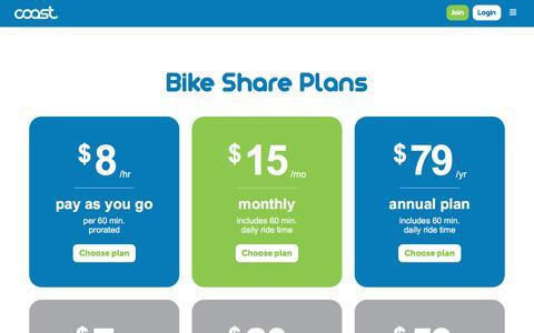 Screenshot of Pricing Page coastbikeshare.com - Pricing | Coast Bikes - captured July 19, 2018