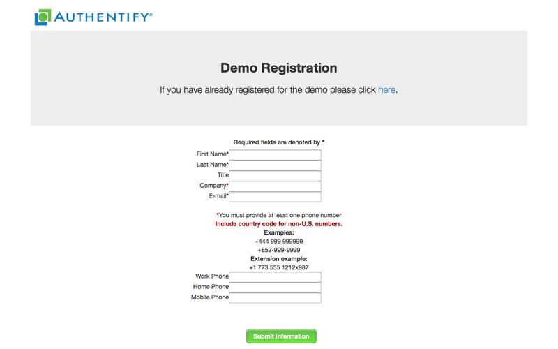 Authentify | Demo Registration