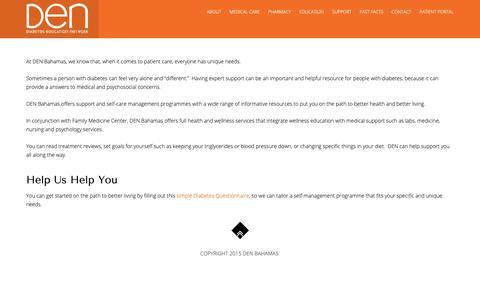 Screenshot of Support Page denbahamas.com - Support: Self-Care Management – Diabetes Education Network - captured Oct. 18, 2018