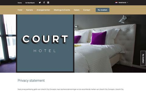 Screenshot of Privacy Page courthotel.nl - Courthotel - captured Sept. 29, 2018