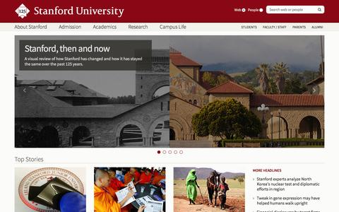 Screenshot of Home Page stanford.edu - Stanford University - captured Jan. 12, 2016