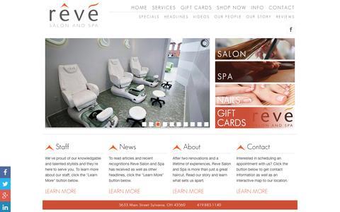 Screenshot of Home Page revesalonandspa.com - Home | Reve Salon and Spa - captured Dec. 17, 2016