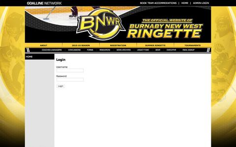 Screenshot of Login Page goalline.ca - Burnaby New West Ringette powered by GOALLINE.ca - captured June 13, 2016