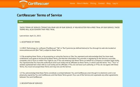 Screenshot of Terms Page cartrescuer.com - Terms of Service | CartRescuer - captured July 19, 2014