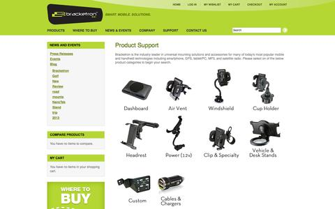 Screenshot of Support Page bracketron.com - Mounting Solutions And Support | Bracketron - captured Sept. 19, 2014