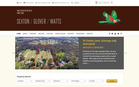 Screenshot of Home Page realestateinthehills.com - Sexton / Glover / Watts - Adelaide Hills Real Estate - captured Dec. 13, 2018