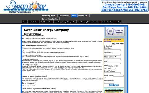 Screenshot of Privacy Page swansolar.com - Residential and Commercial Solar Photovoltaic Installations | About Swan Solar - captured Sept. 30, 2014