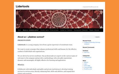 Screenshot of About Page wordpress.com - About us / ¿Quiénes somos?   Lidertools - captured Sept. 12, 2014