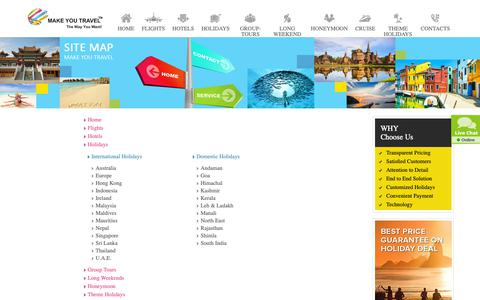 Screenshot of Site Map Page makeyoutravel.com - Make You Travel  - The Way You Want - captured Oct. 2, 2018