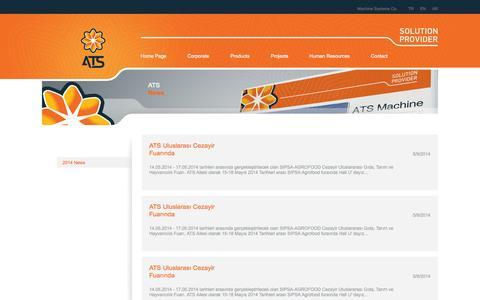 Screenshot of Press Page atsmachine.com.tr - .:: ATS Machine Systems | Solution Provider ::. ATS 2014 News - captured Oct. 4, 2014