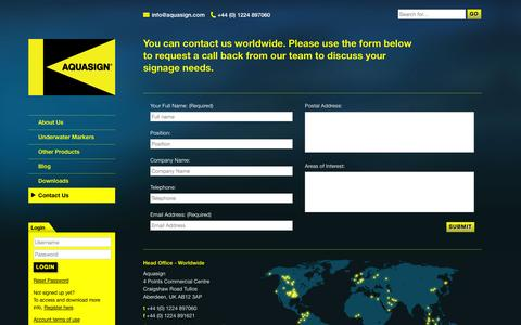 Screenshot of Contact Page aquasign.com - Contact Us - Aquasign - Marine Antifouling Subsea Markers - captured Oct. 4, 2014
