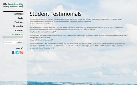 Screenshot of Testimonials Page mscsustainability.org - Student Testimonials   MSc Sustainability - captured May 15, 2016