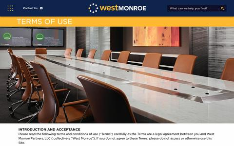Screenshot of Terms Page westmonroepartners.com - Terms of Use | West Monroe Partners - captured Jan. 18, 2018