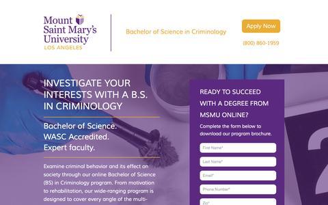 Screenshot of Landing Page msmu.edu - Bachelor of Science in Criminology – MSMU Online | MSMU - captured Oct. 30, 2016