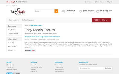 Screenshot of Blog easymeals.net.au - Easy Meals Forum - captured Sept. 26, 2018