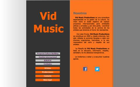 Screenshot of Home Page vidmusic.com - Vid Music Productions :::::: Home - captured Oct. 7, 2014