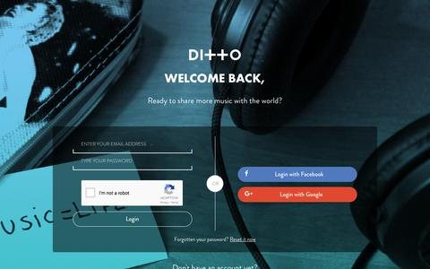 Screenshot of Login Page dittomusic.com - Login to your Ditto Music account | Sign in - captured Nov. 10, 2017