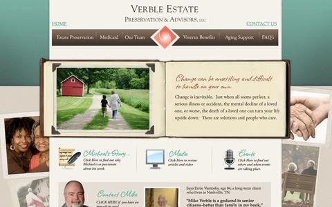 Screenshot of Home Page verbleseniorsolutions.com - Verble Estate Preservation & Advisors, LLC. - captured Oct. 7, 2014