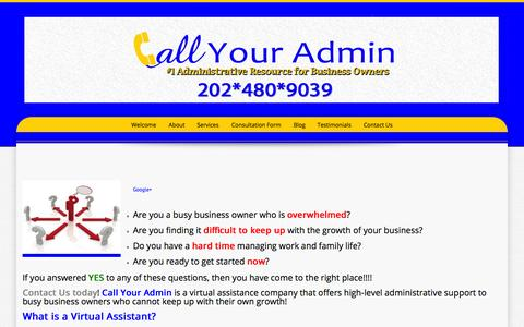 Screenshot of Home Page callyouradmin.com - Call Your Admin | #1 Administrative Resource for Business Owners - captured Sept. 27, 2014