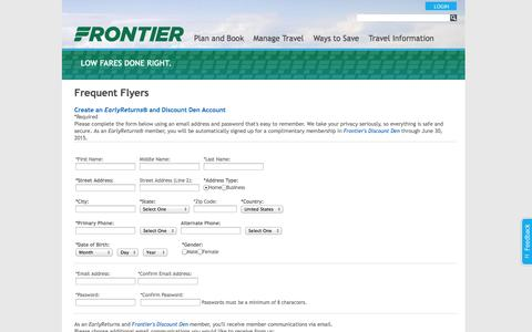 Screenshot of Signup Page flyfrontier.com - Frontier Airlines | Join EarlyReturns - captured Sept. 18, 2014
