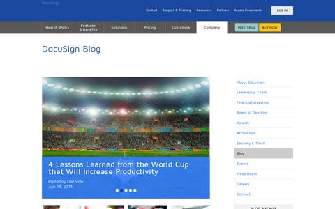 Screenshot of Blog docusign.com - Blog | DocuSign - captured July 20, 2014