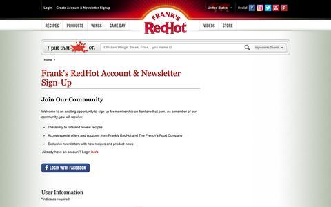 Screenshot of Signup Page franksredhot.com - Account & Newsletter Sign-Up   Frank's RedHot® - captured Nov. 9, 2018