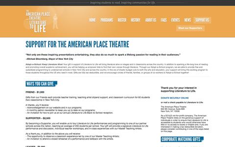 Screenshot of Support Page americanplacetheatre.org - Support // The American Place Theatre - captured Feb. 17, 2016