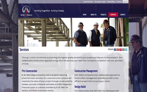 Screenshot of Services Page rwallen.com - Contruction Management - captured Oct. 27, 2014