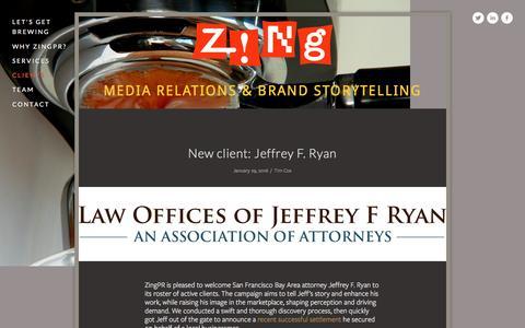 Screenshot of Press Page zingpr.com - Client work and other news — ZingPR - captured Feb. 13, 2016