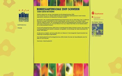 Screenshot of Home Page buga-2009.de - Bundesgartenschau 2009 in Schwerin - captured June 9, 2016