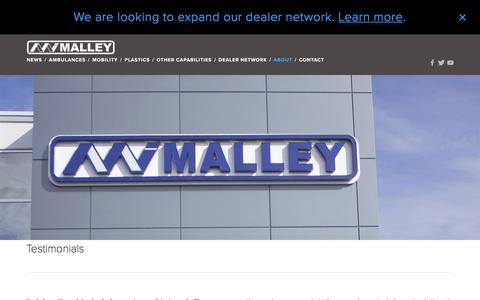 Screenshot of Testimonials Page malleyindustries.com - Testimonials — Malley Industries Inc. - captured Feb. 4, 2016